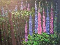 Blumen, Zaun, Lupinen, Sommer