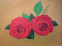 Rot, Rose, Ölmalerei, Malerei