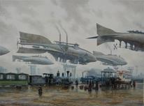 Steampubk, Landschaft, Lokomotiv, Luftschiffe
