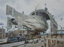 Hafen, Zeppelin, Dampfschiff, Dampf