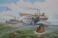 Dampfschiff, Steampubk, Schiff, Luftschiffe