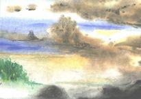 Herbst, Ebbe, Wolken, Elbe