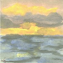 Wasser, Deich, Bergen, Wolken