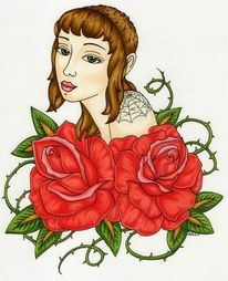 Tattoo, Portrait, Rose, Frau