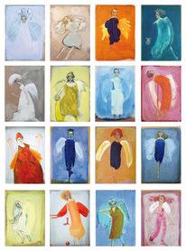 Postkarten, Engelinen, Zeichnungen,