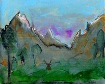 Berge, Rückzug, Hirsch, Malerei