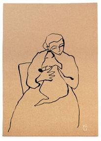 Frau, Hund, Schoß, Zeichnungen
