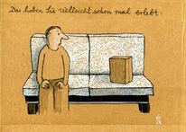 Paket, Mann, Sofa, Zeichnungen