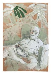 Matisse, Hund, Pflanzen, Sessel