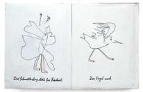 Freiheit, Schmetterling, Vogel, Zeichnungen