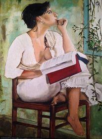 Frau, Fenster, Malerei