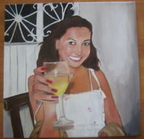 Sommer, Frau, Ölmalerei, Malerei