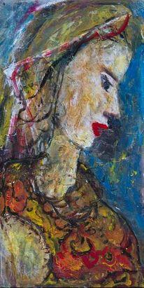 Hintergrund blau, Kleid muster organge, Gelb, Malerei