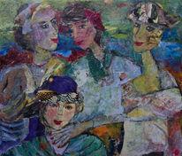 Türkis, Vertrautheit, Vier damen, Rote fingernägel