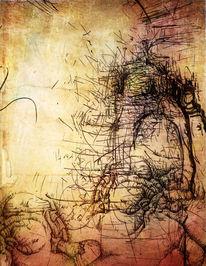 Zeichnung, Reise, Stein, Tuschezeichnung