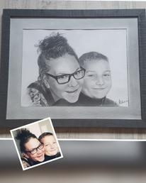 Junge, Portraitzeichnung, Familie, Sohn