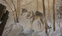 Tiere, Wolf, Malerei