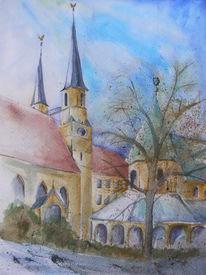Aquarellmalerei, Kirche, Kapelle, Aquarell