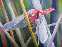 Acrylmalerei, Sumpf, Libelle, Insekten