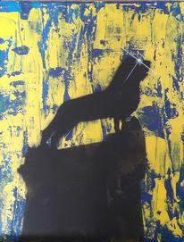 Acrylmalerei, Blaugelb, Katzenportrait, Braunschweiger löwe
