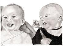 Kohlezeichnung, Kind, Portrait, Bleistiftzeichnung