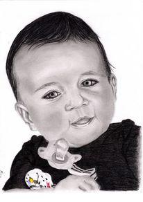 Bleistiftzeichnung, Kind, Kohlezeichnung, Portrait