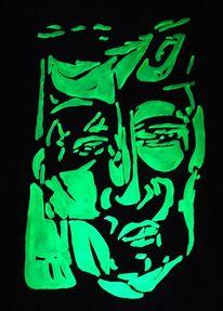 Licht, Neonfarben, Mann, Portrait