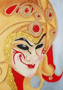 Maskerade, Acrylmalerei, Venecia08, Maske