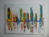 Acrylmalerei, Spachteltechnik, Manhattan, Skyline