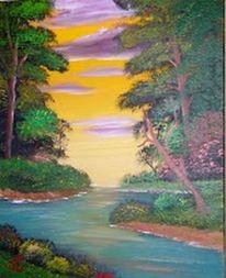 Fluss, Wolken, Landschaft, Malerei