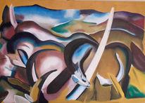 Malerei, Landschaft, Pferde