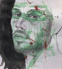 Aquarellmalerei, Grün, Zeichnung, Gesicht