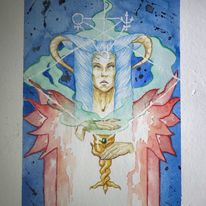 Zeichnung, Gesicht, Frau, Aquarellmalerei