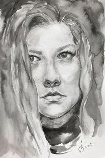 Augen, Aquarellmalerei, Frau, Studie
