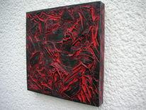 Holzbildhauerei, Rot schwarz, Mischtechnik, Abstrakt