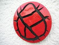 Rot schwarz, Bruch, Strukturpaste kn17, Kunsthandwerk