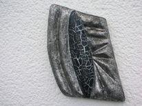 Schwarz, Leichtstrukturpaste, Styroporbildträger, Silber