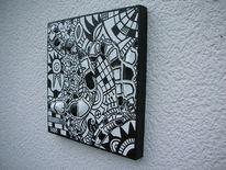 Schwarz weiß, Weiß, Malerei, Abstrakt