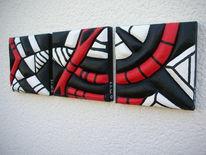 Weiß, Rot schwarz, Styros, Plastik