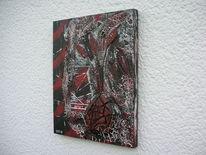 Strukturpaste kn 17, Holzbildhauerei, Rot schwarz, Weiß