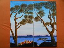 Baum, Frankreich, Strand, Sonne