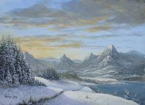 Miniatur, Wasser, Winter, Hügel