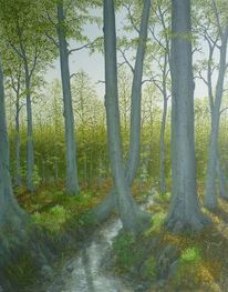 Feinmalerei, Wald, Bach, Zeitlos