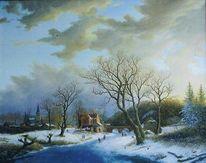 Alte meister, Wolken, Landschaft, Schnee