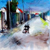 Hund, Straße, Heimat, Malerei