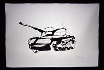 Panzer, Tuschmalerei, Baeng, Zeichnungen