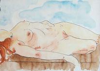 Wasser, Farben, Skizze, Brust