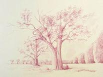 Tusche, Tuschezeichnung, Baum, Landschaft