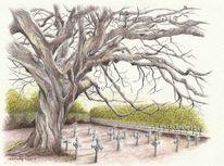 Tuschmalerei, Zeichung, Baumstudie, Baum