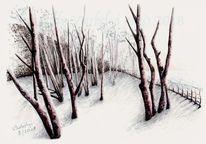 Studie, Landschaft, Zeichnung, Baum
